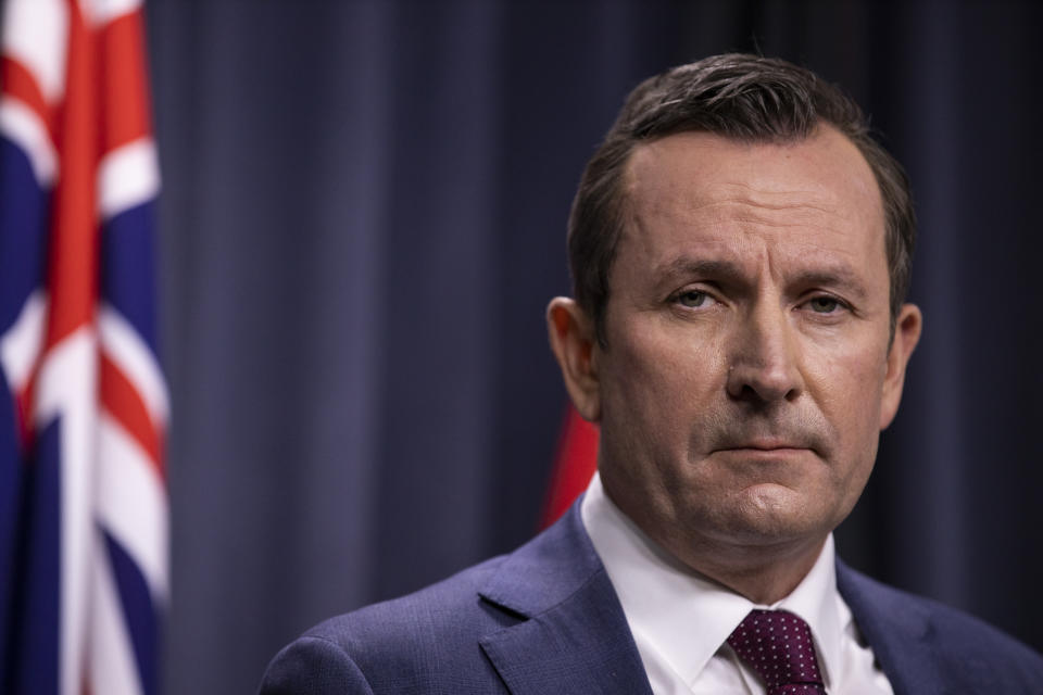 Western Australian Premier Mark McGowan speaks to the media during a press conference at Dumas House in Perth.