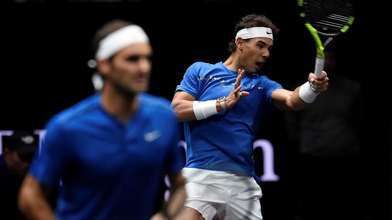Roger Federer and Rafael Nadal played doubles together at the 2018 Laver Cup. (Image: MICHAL CIZEK/AFP/Getty Images)