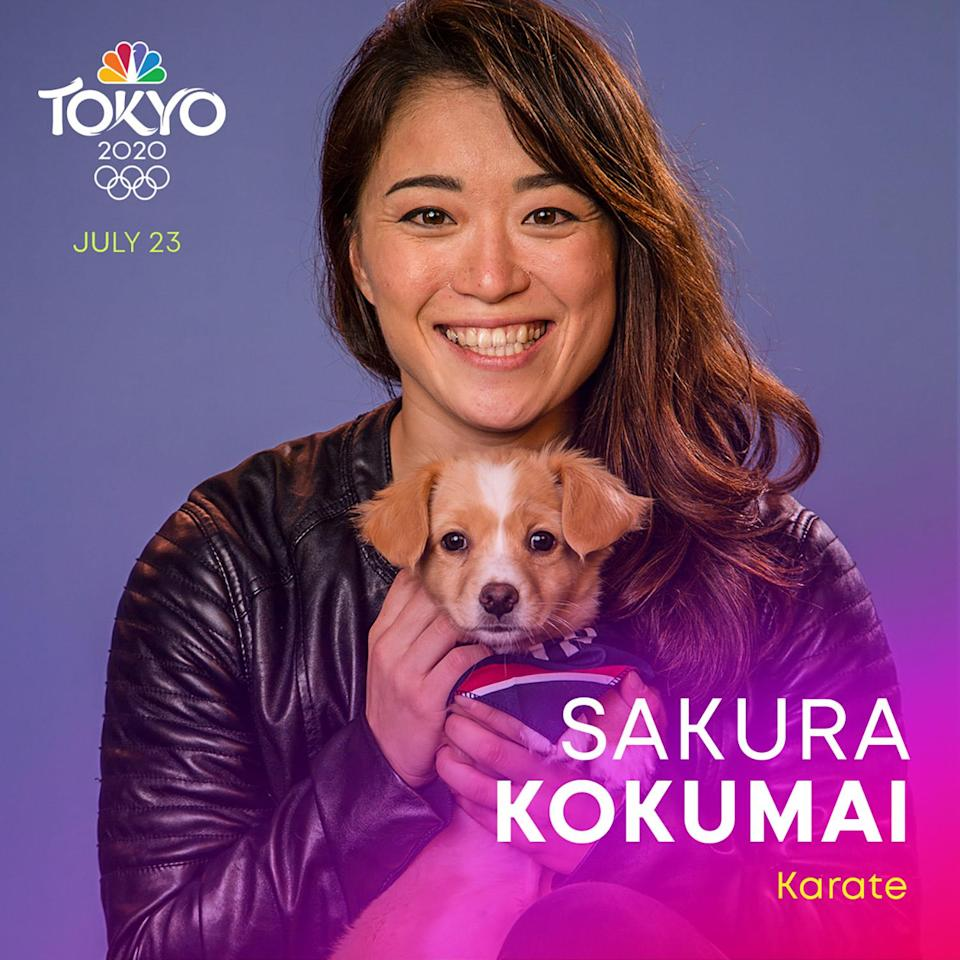 """<p><a href=""""https://www.teamusa.org/usa-karate/athletes/sakura-kokumai"""" rel=""""nofollow noopener"""" target=""""_blank"""" data-ylk=""""slk:Kokumai"""" class=""""link rapid-noclick-resp"""">Kokumai</a> is a well-decorated member of the USA Karate National Team and is preparing for her first Olympic Games after a gold medal win at the 2019 Pan American Games.</p>"""