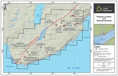 Exhibit A. Location and gold occurrences, including the Cape Spencer Mine and Northeast Zone, of Cape Spencer in southern New Brunswick. (CNW Group/Anaconda Mining Inc.)