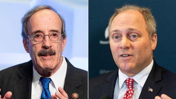 PHOTO: U.S. Representative Eliot Engel speaks at the Anti-Defamation League (ADL) National Leadership Summit in Washington, DC. | U.S. representative Steve Scalise speaks at a press conference in the US Capitol. (Michael Brochstein/SOPA Images/LightRocket via Getty Images)