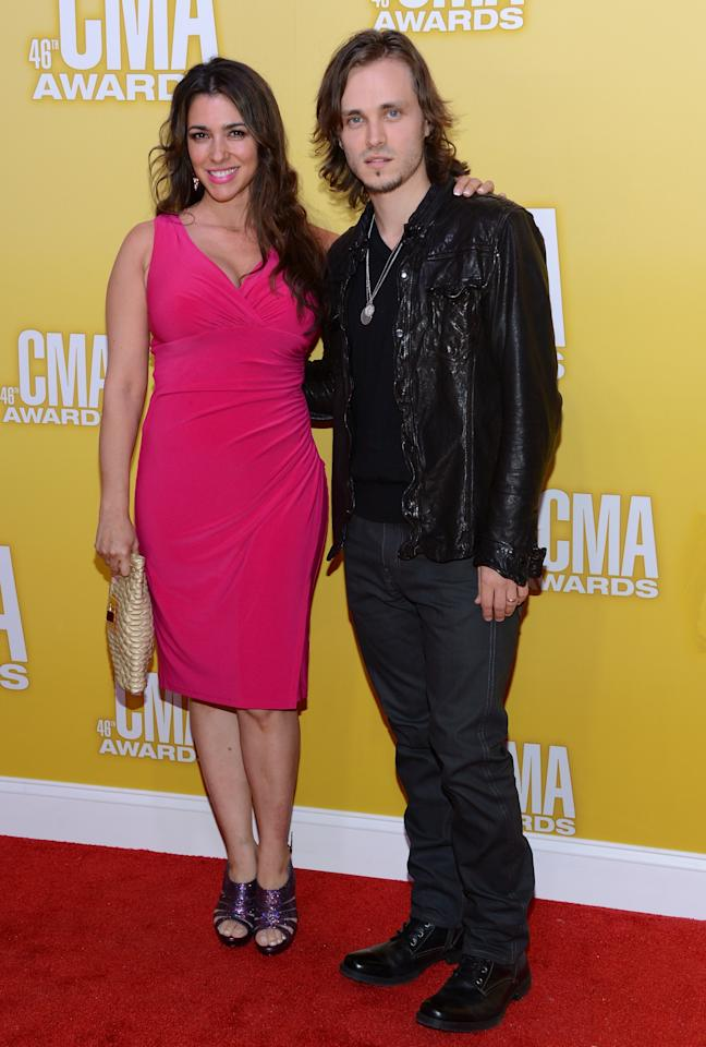 NASHVILLE, TN - NOVEMBER 01:  Actors Jonathan Jackson (R) and Lisa Vultaggio attend the 46th annual CMA Awards at the Bridgestone Arena on November 1, 2012 in Nashville, Tennessee.  (Photo by Jason Kempin/Getty Images)