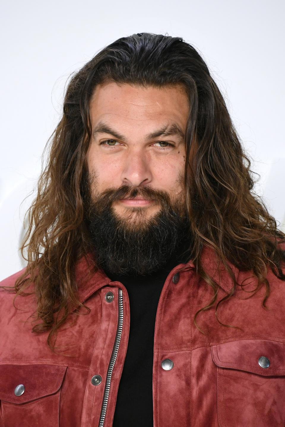 HOLLYWOOD, CALIFORNIA - FEBRUARY 07: Actor Jason Momoa  attends the Tom Ford AW20 Show at Milk Studios on February 07, 2020 in Hollywood, California. (Photo by Mike Coppola/FilmMagic)