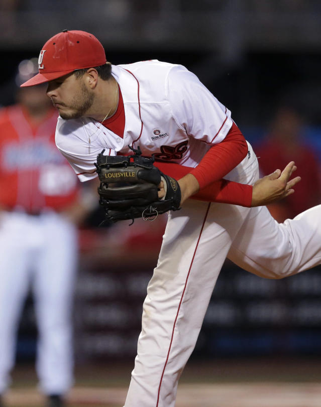 Louisiana Lafayette pitcher Carson Baranik (44) pitches in the first inning of an NCAA college baseball tournament super regional game against Mississippi in Lafayette, La.,Sunday, June 8, 2014. (AP Photo/Gerald Herbert)
