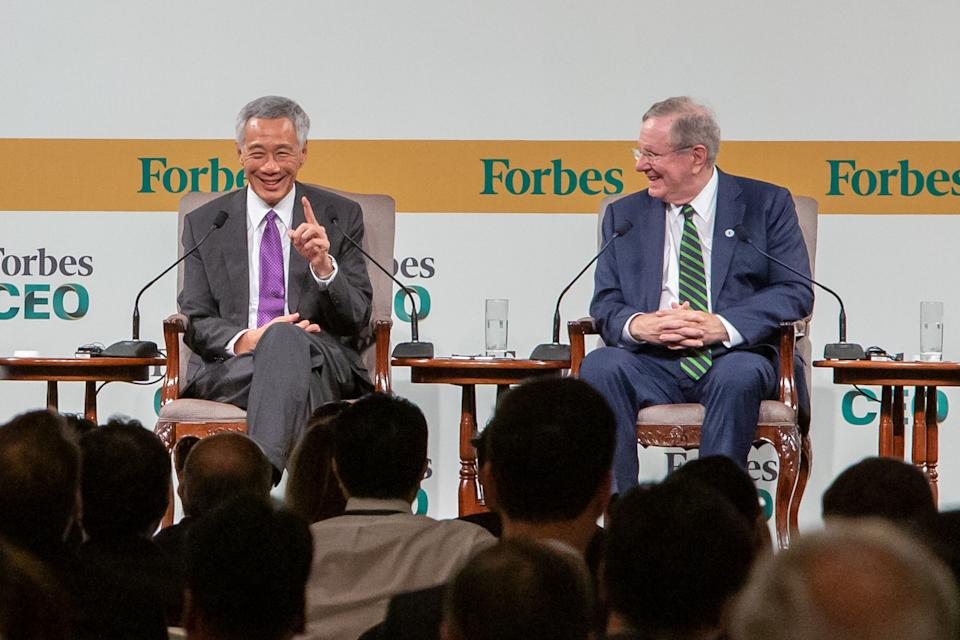 Singapore Prime Minister Lee Hsien Loong (left) and Forbes editor-in-chief Steve Forbes at the Forbes Global CEO Conference on Wednesday, 16 October 2019. PHOTO: Dhany Osman/Yahoo News Singapore