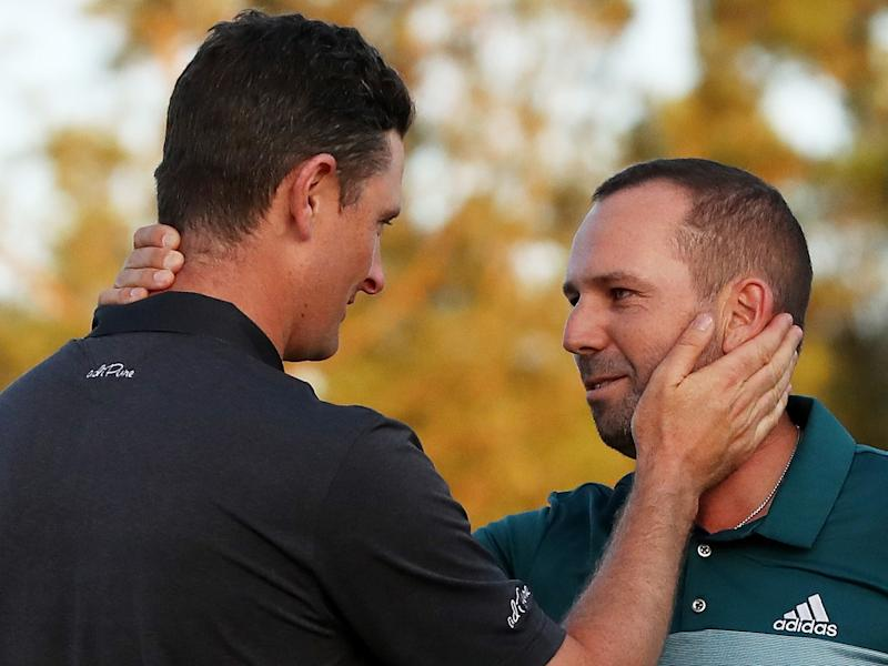 Justin Rose congratulated Sergio Garcia after coming off second-best to the Spaniard: Getty