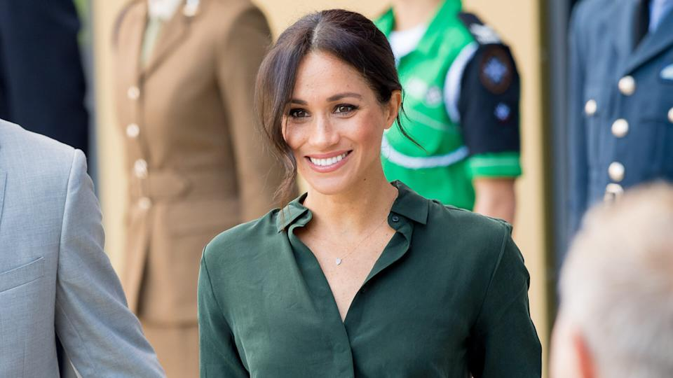 Mandatory Credit: Photo by REX/Shutterstock (9912877c)Meghan Duchess of Sussex arrives at University of ChichesterPrince Harry and Meghan Duchess of Sussex visit to Sussex, UK - 03 Oct 2018.