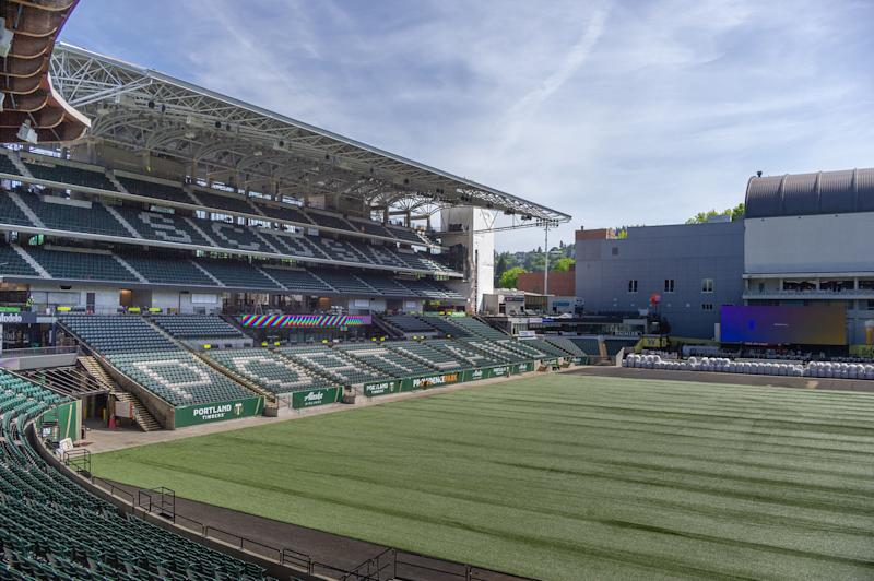 PORTLAND, OR - MAY 7, 2019: Portland Timbers organized a hard hat tour of Providence Park to show the progress of the stadium addition that will add about 4,000 new spectators at a cost of US $85 M at Providence Park in Portland, OR. (Photo by Diego G Diaz/Icon Sportswire via Getty Images).