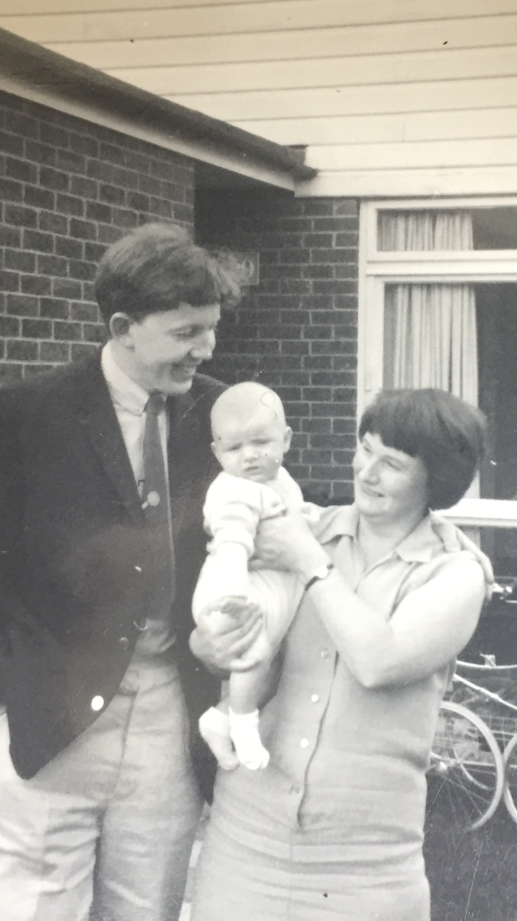 Mark Ravenhill as a baby in 1967 with his mother Angela and his father Ted