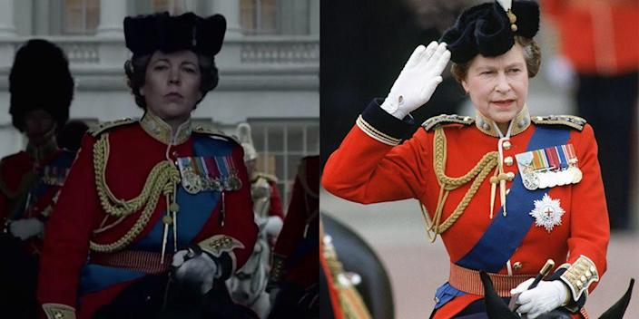 <p>Queen Elizabeth dressed in her ceremonial uniform to ride in the Trooping of the Colour ceremony every year until 1986. While playing the monarch, Olivia Colman saddled up in the medal adorned military jacket to film the annual ceremony.</p>