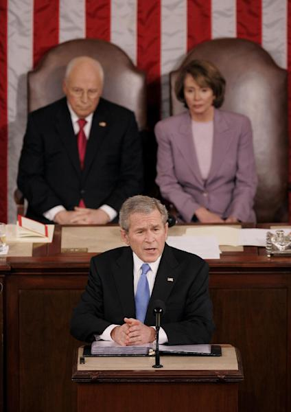 "FILE - In this Jan. 28, 2008 file photo, President George W. Bush delivers his State of the Union address on Capitol Hill in Washington. Is ""strong"" losing its strength? Presidents of both parties have long felt compelled to sum up the state of the union with a descriptive word or two in their State of the Union addresses. Mostly the same word. For many years now, ""strong"" has been the go-to adjective. Vice President Dick Cheney, left, and House Speaker Nancy Pelosi of Calif. listen. (AP Photo/Susan Walsh, File)"