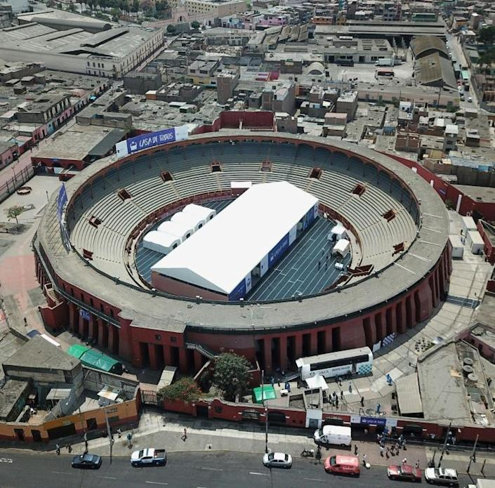 An aerial view of Plaza de toros de Acho bullring that has been converted into a homeless shelter for up to 150 people to protect them from the coronavirus pandemic (AFP Photo/Cris BOURONCLE)