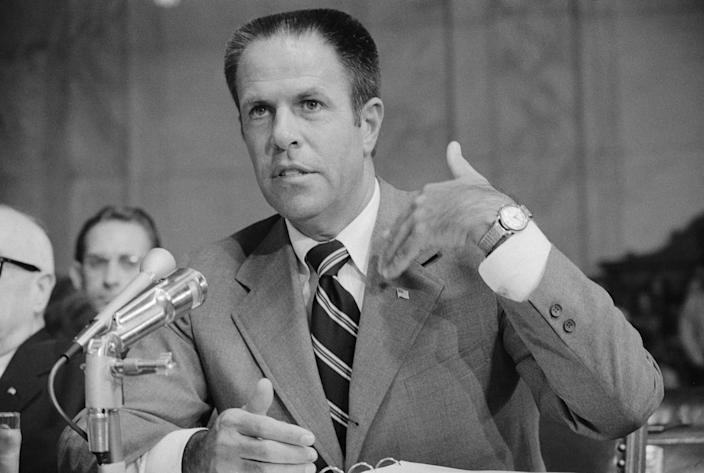 """H.R. """"Bob"""" Haldeman, White House chief of staff, appears before the Senate Watergate Committee on July 30, 1973. (Photo: Bettmann Archive via Getty Images)"""