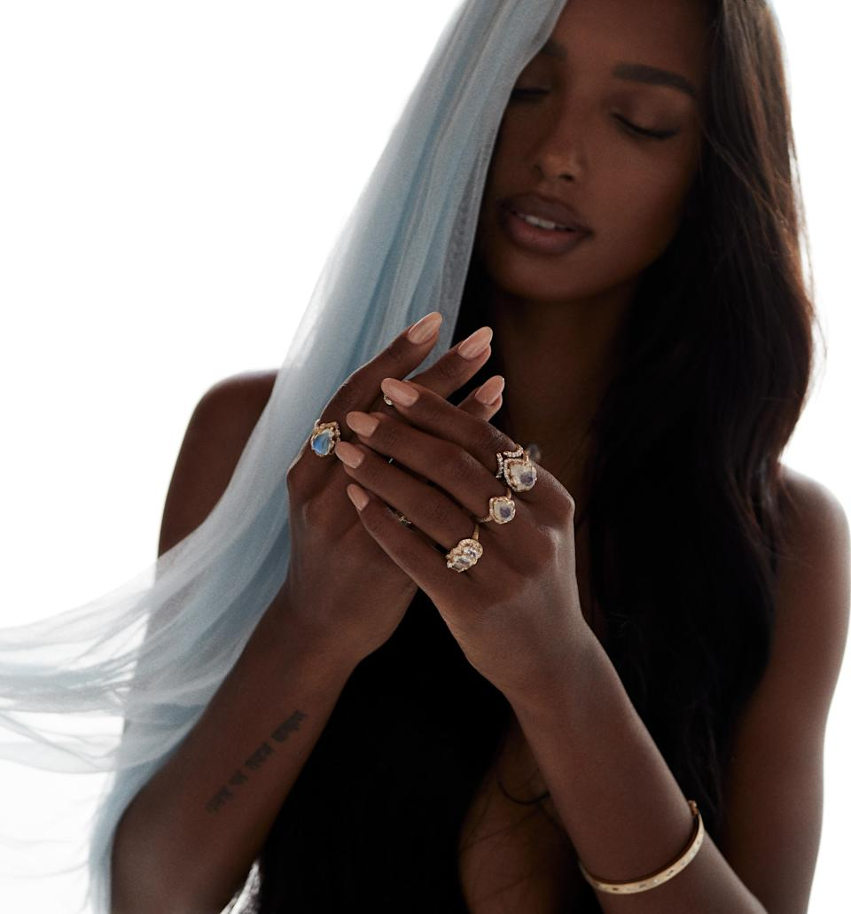 Jasmine Tookes for Logan Hollowell's debut bridal and engagement collection. - Credit: Courtesy photo