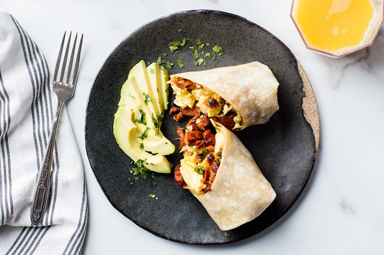 "The inspiration for these handheld burritos came from those served at the Santa Fe Farmers Market, in New Mexico. Though either Mexican or Spanish chorizo would work, we prefer the smoothness of the Mexican sausage and the way its flavor, rich with chiles, soaks into the potatoes. <a href=""https://www.epicurious.com/recipes/food/views/breakfast-burritos-355417?mbid=synd_yahoo_rss"">See recipe.</a>"