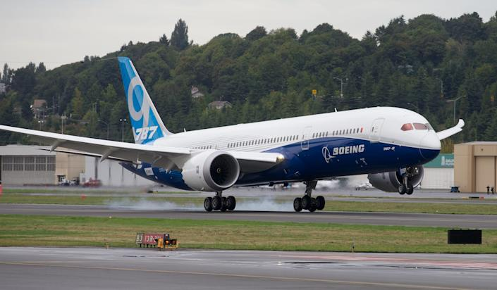 The first flight of a Boeing 787-9 Dreamliner.