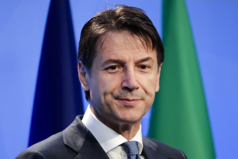 Italian Prime Minister Giuseppe Conte addresses a news conference during a summit of heads of state and government at NATO headquarters in Brussels, Thursday, July 12, 2018. (AP Photo/Markus Schreiber6