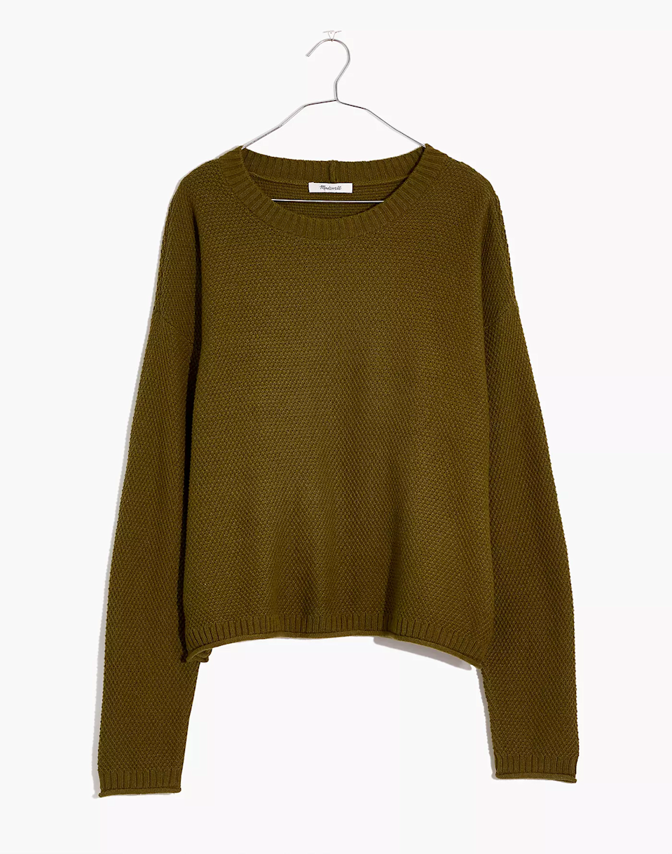 """<h2>Madewell Seagrove Pullover Sweater</h2><br>""""Because I recently moved and left behind my fall wardrobe, I need to start my fall style from scratch. And a definite must-have are Madewell sweaters. I'm very picky with the texture of my clothing, especially sweaters, and I just know that I'll have the easiest time finding just the right amount of softness that I need at Madewell."""" –<em> Mercedes Viera, Associate Deals Writer </em><br><br><em>Shop <a href=""""http://madewell.com"""" rel=""""nofollow noopener"""" target=""""_blank"""" data-ylk=""""slk:Madewell"""" class=""""link rapid-noclick-resp"""">Madewell</a></em><br><br><strong>Madewell</strong> Seagrove Pullover Sweater, $, available at <a href=""""https://go.skimresources.com/?id=30283X879131&url=https%3A%2F%2Fwww.madewell.com%2Fseagrove-pullover-sweater-NB357.html"""" rel=""""nofollow noopener"""" target=""""_blank"""" data-ylk=""""slk:Madewell"""" class=""""link rapid-noclick-resp"""">Madewell</a>"""