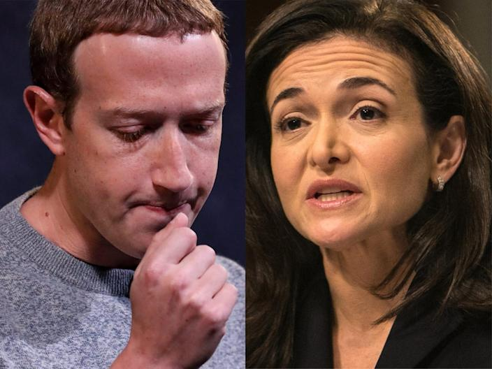 """Facebook's executives have repeatedly pledged to do better about cleaning up the platform, but the company has a long way to go. <p class=""""copyright"""">Drew Angerer/Getty Images; The Asahi Shimbun/Getty Images</p>"""