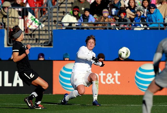 FRISCO, TX - FEBRUARY 11: Abby Wambach #20 of USA takes a shot against New Zealnad at FC Dallas Stadium on February 11, 2012 in Frisco, Texas. (Photo by Ronald Martinez/Getty Images)