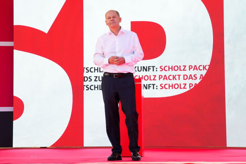 Germany's Social Democratic Party chancellor candidate Olaf Scholz campaigns in Berlin
