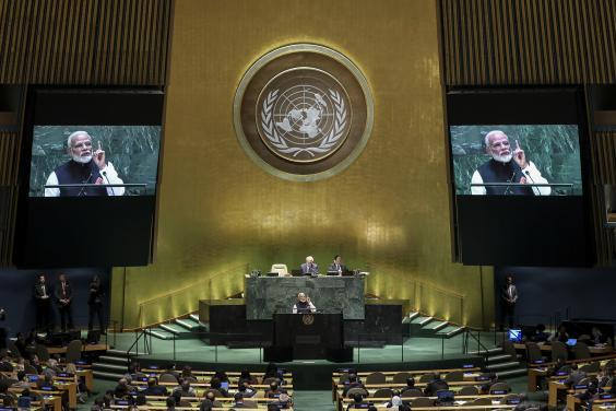 At the UN General Assembly last month, Modi said India was taking steps to address the issue of global warming (Getty)
