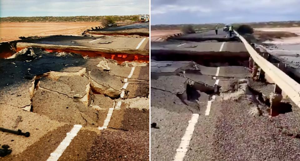 what is left of parts of the Stuart highway after a firey crash