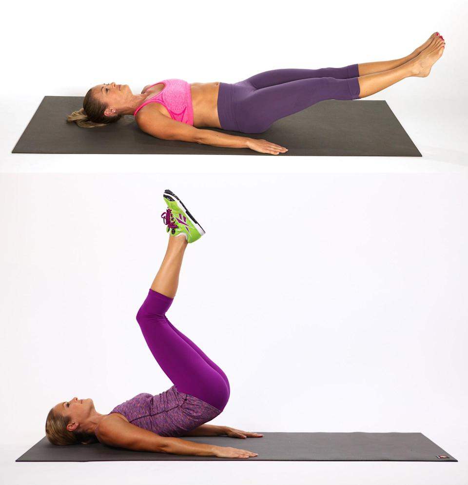 <ul> <li>Lie on your back. Rest your hands by your sides, palms facing down, or place your hands underneath your butt for a little leverage.</li> <li>Extend both legs out so they are a few inches above the ground. Draw your lower abs in, pressing your lower back into the floor. </li> <li>In one fluid motion, bend the knees into the chest, press the hips up as high as you can, lower your hips to the floor, and extend the legs straight out.</li> <li>This completes one rep.</li> </ul>