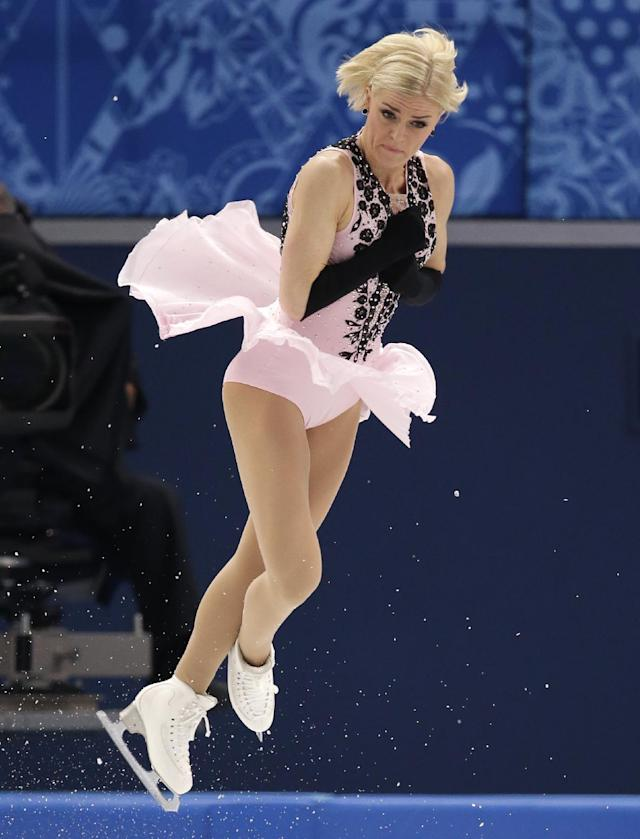 Viktoria Helgesson of Sweden competes in the women's short program figure skating competition at the Iceberg Skating Palace during the 2014 Winter Olympics, Wednesday, Feb. 19, 2014, in Sochi, Russia. (AP Photo/Bernat Armangue)
