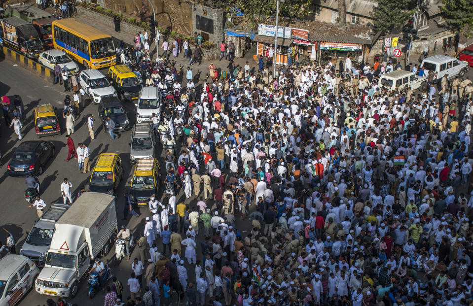 MUMBAI, INDIA - MARCH 6: People protest and road block at Nagpada junction as Mumbai police lathi charged on protesters of Mumbai bag early hours of Friday, on March 6, 2020 in Mumbai, India.  The protesters claimed the police had objected to a temporary shade put up by them at the protest site, though officials denied allegations of manhandling. (Photo by Pratik Chorge/Hindustan Times via Getty Images)