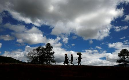 Survivors move to high ground at Peacock growth point in Chimanimani, near the Mozambique border, Zimbabwe, March 22, 2019. REUTERS/Philimon Bulawayo