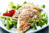 """<p>It may not be a trendy superfood, but a four-ounce serving of chicken breast contains nearly half of your daily protein. Chicken breasts are a great source of phosphorous—important for strong bones and teeth—as well as vitamin B3 (aka niacin), which helps control high blood pressure and prevents hardening of the arteries. One serving also contains 25 percent of the vitamin B6 you need each day to maintain proper brain and immune system function.</p><p><strong>Try it: </strong><a href=""""https://www.prevention.com/food-nutrition/recipes/a20482231/one-skillet-chicken-with-spinach-and-mushrooms/"""" rel=""""nofollow noopener"""" target=""""_blank"""" data-ylk=""""slk:One Skillet Chicken with Spinach and Mushrooms"""" class=""""link rapid-noclick-resp"""">One Skillet Chicken with Spinach and Mushrooms</a></p>"""