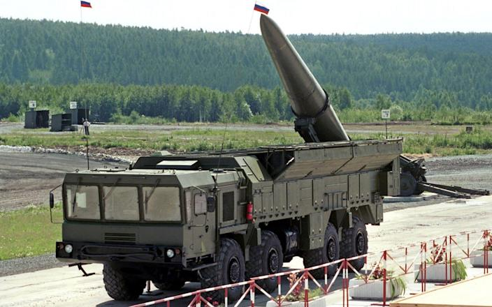 An undated file photo shows Russia's Iskander ballistic missile, the class that has been reportedly moved to the Ukrainian border - EVGENY STETSKO