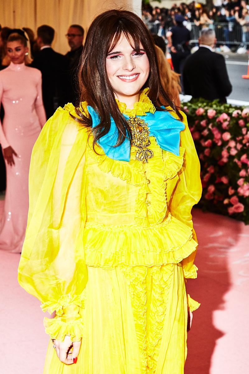 Hari Nef on the red carpet at the Met Gala in New York City on Monday, May 6th, 2019. Photograph by Amy Lombard for W Magazine.