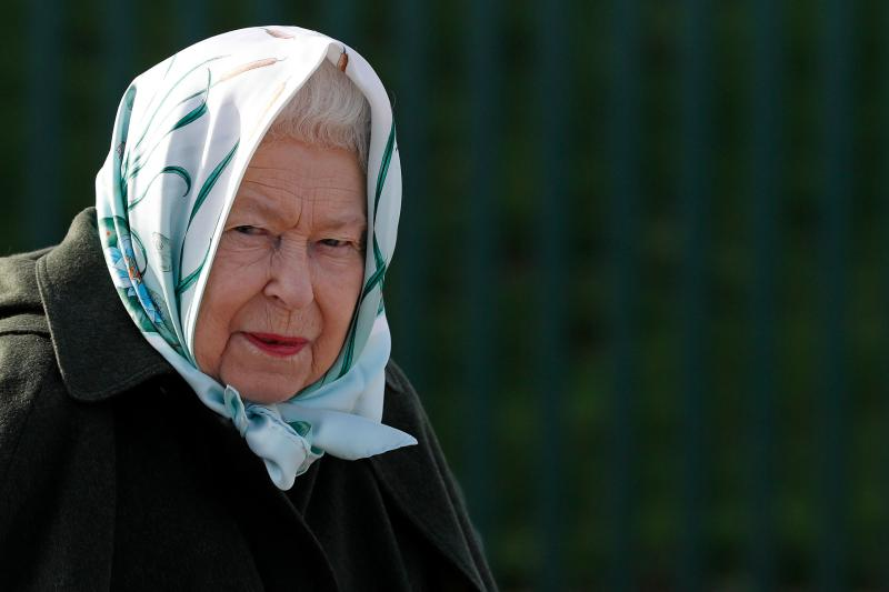 TOPSHOT - Britain's Queen Elizabeth II reacts during her visit to Wolferton Pumping Station in Norfolk, east of England on February 5, 2020, where she officially opened the new station. - Wolferton Pumping Station allows the surrounding 7,000 acres of marshland, which sits below sea level, to be drained, dried out and farmed. The Queen's father, King George VI, opened the original station on February 2, 1948. (Photo by Adrian DENNIS / POOL / AFP) (Photo by ADRIAN DENNIS/POOL/AFP via Getty Images)
