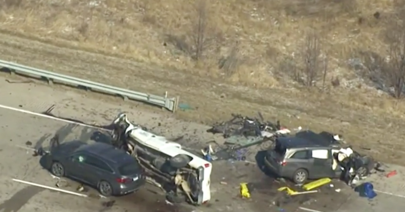 The aftermath of the crash showed the two wrecked vehicles. Source: CNN