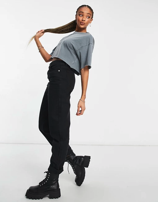 ASOS DESIGN high rise 'original' mom jeans. Image via ASOS.