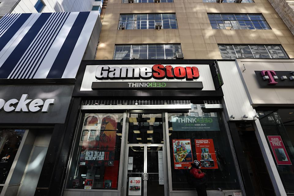 NEW YORK, USA - JANUARY 30: A GameStop store is seen in Manhattan of New York City, United States on January 30, 2021. (Photo by Tayfun Coskun/Anadolu Agency via Getty Images)