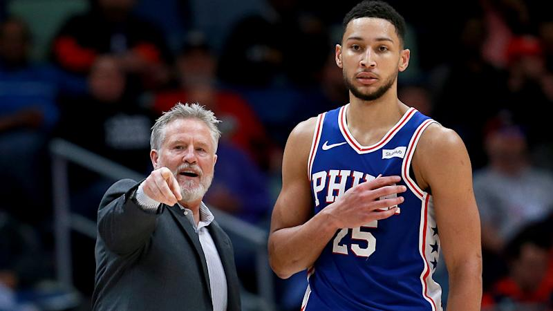 Philadelphia 76ers coach Brett Brown, left, is likely to be announced as the next coach of the Australian Boomers. The move has led to hopes Ben Simmons will play for the team at the 2020 Tokyo Olympics. (Photo by Sean Gardner/Getty Images)
