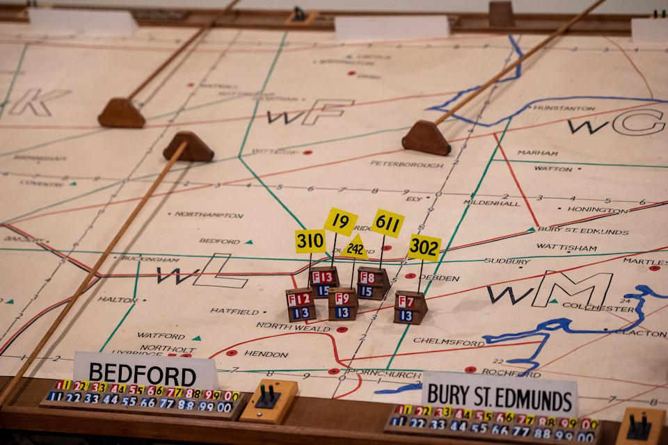 Detail of the map inside the ops room during the press preview of The Ops Block: Battle of Britain at IWM Duxford, an exhibition that marks 80 years since the German Luftwaffe began its long series of air attacks, signifying the start of the Battle of Britain.