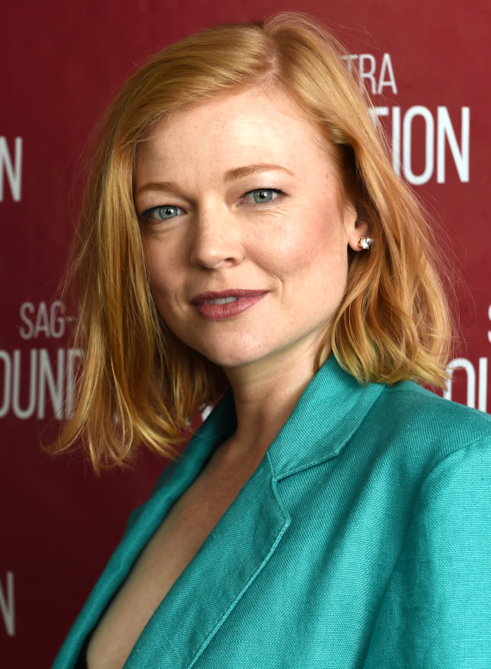 """Hands down, one of the most talked-about haircuts this year has been """"the Shiv""""—the shoulder-grazing bob haircut Sarah Snook's <em>Succession</em> character, Shiv Roy, got in order to represent her newfound power in her dad's billion-dollar media company. (Seriously, <a href=""""https://www.glamour.com/story/succession-grand-dames?mbid=synd_yahoo_rss"""">are you watching the show yet</a>? Because <em>do,</em> if not.) What sets it apart is its slightly off-kilter length (a little longer on one side than the other), and its ability to go from tousled (as seen here) to sharp and slick, like in the show, says Snook's hairstylist, <a href=""""https://www.instagram.com/helenreavey/"""" rel=""""nofollow"""">Helen Reavey</a>."""