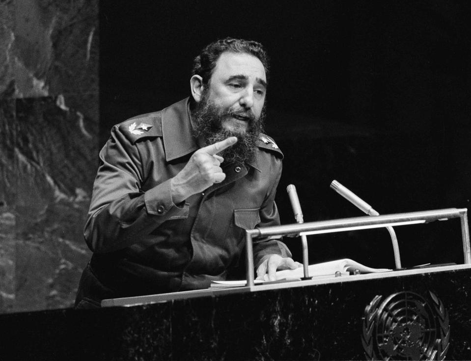 <p>Cuban Premier Fidel Castro gestures during his marathon speech to the United Nations General Assembly, Oct. 12, 1979 in New York. (AP Photo) </p>