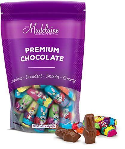 "<p><strong>THE MADELAINE CHOCOLATE COMPANY</strong></p><p>amazon.com</p><p><strong>$14.95</strong></p><p><a href=""https://www.amazon.com/dp/B00IOAD78U?tag=syn-yahoo-20&ascsubtag=%5Bartid%7C10050.g.15947751%5Bsrc%7Cyahoo-us"" rel=""nofollow noopener"" target=""_blank"" data-ylk=""slk:Shop Now"" class=""link rapid-noclick-resp"">Shop Now</a></p><p>Not up for the challenge of consuming an entire chocolate bunny? That's okay: You can start small with these milk chocolate minis. </p>"