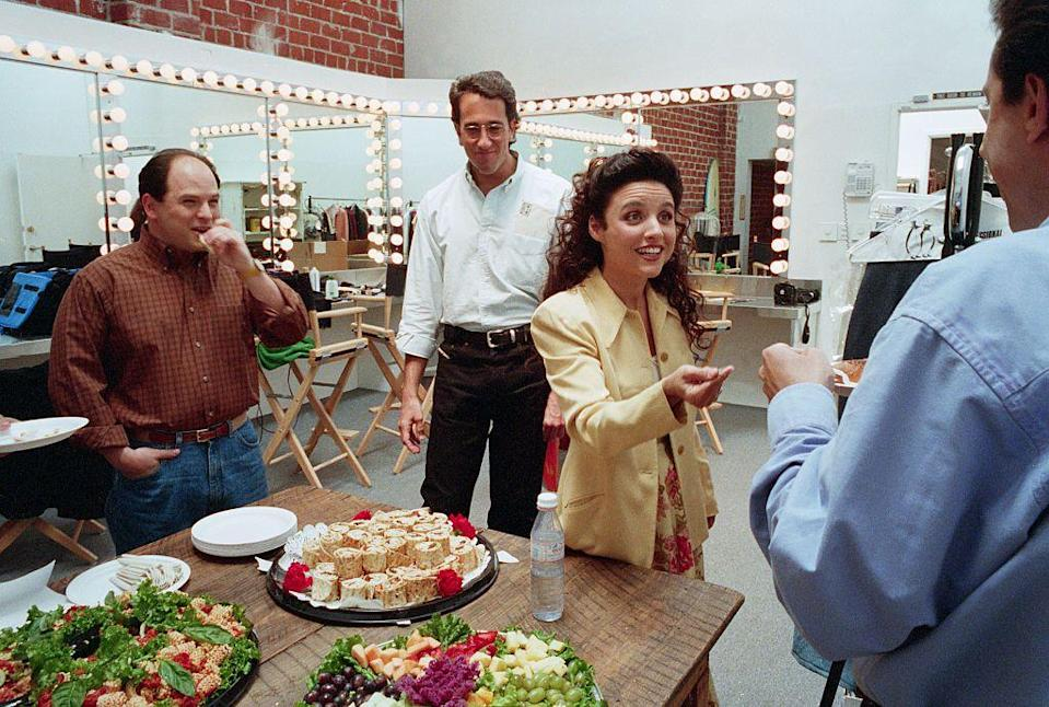 <p>Alexander and Louis-Dreyfus are photographed enjoying a catered meal backstage while filming the show.</p>