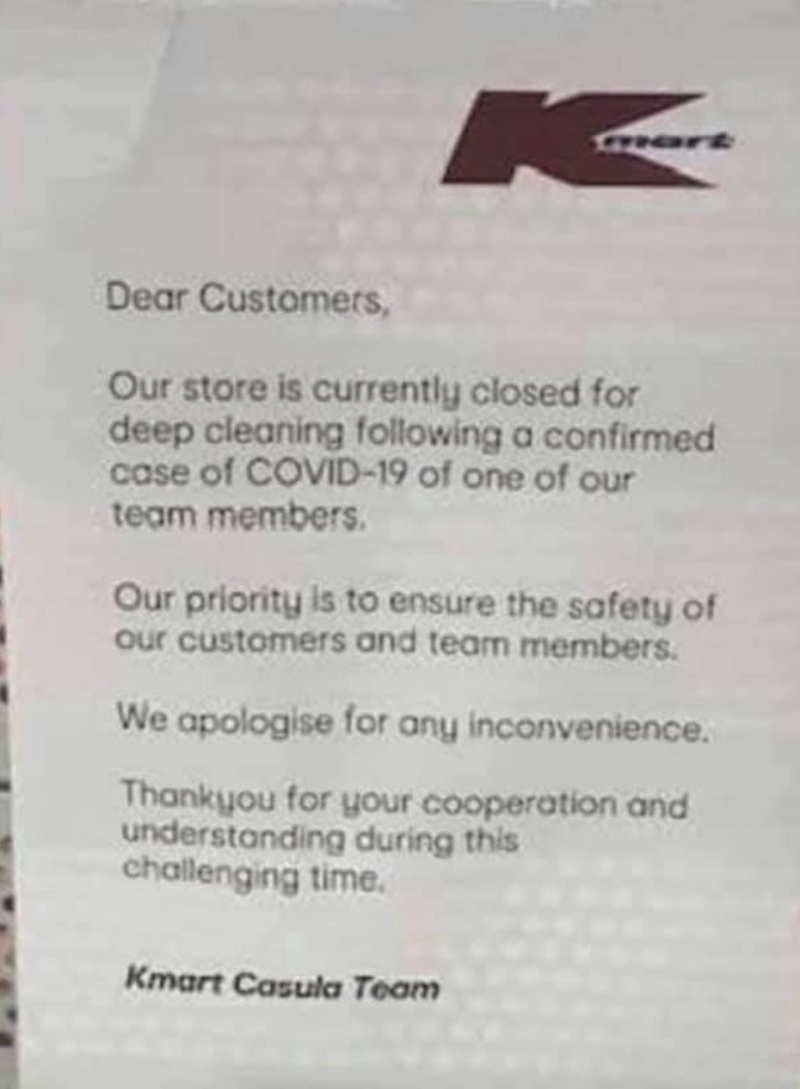 The store displayed this notice on its entrance inside the Casula Mall on Monday. Source: Facebook
