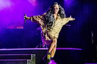 <p>H.E.R. plays to the crowd during her show at FirstBank Amphitheater on Oct. 10 in Franklin, Tennessee. </p>
