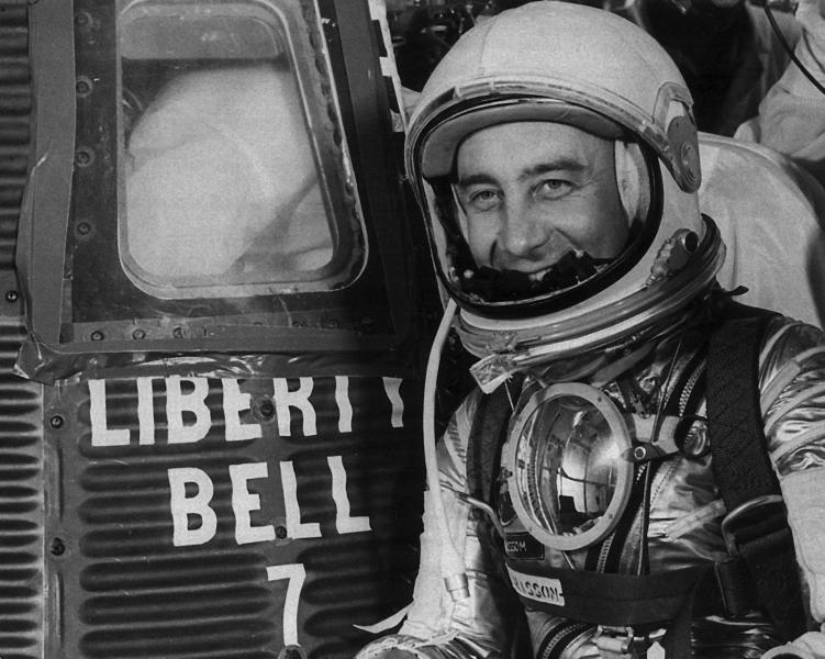 FILE- In this photo taken July 21, 1961, Astronaut Virgil I. Grissom is seen next to the space capsule Liberty Bell 7, for his departure from Cape Caneveral, Fla. RR Auction of Amherst, N.H. is auctioning off a letter Grissom wrote to his mother, how he and five of his fellow Mercury 7 astronauts resented John Glenn for getting the nod to be the first American to orbit the earth. (AP Photo/Str/FILE)