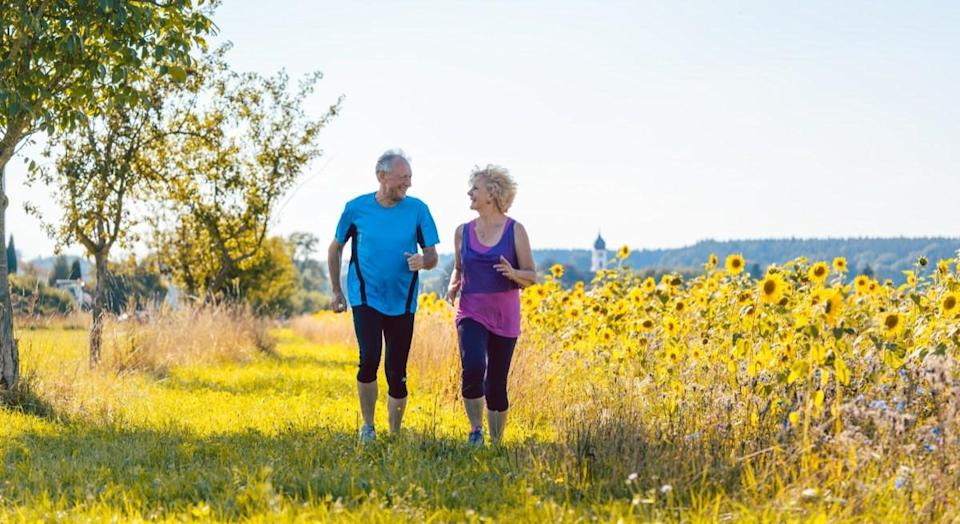 """Commit to a walking program now, and it could have health benefits even if you don't stick to it. For a series of studies in England, the results of which were published in 2018 in <em>PLOS Medicine</em>, inactive adults were given pedometers and exercise advice and told to start a <a href=""""https://journals.plos.org/plosmedicine/article?id=10.1371/journal.pmed.1002526"""" rel=""""nofollow noopener"""" target=""""_blank"""" data-ylk=""""slk:12-week walking program"""" class=""""link rapid-noclick-resp"""">12-week walking program</a>. Three to four years later, the ones who'd started the walking programs took an extra 400 to 600 steps every day and did an extra half-hour of moderate or vigorous physical activity, compared to patients who had never been told to start walking. Emphasize a daily walk, and you might find yourself racking up the steps for the rest of the day, too. And for more ways to stay active as you get older, check out <a href=""""https://bestlifeonline.com/building-muscle-after-50/?utm_source=yahoo-news&utm_medium=feed&utm_campaign=yahoo-feed"""" rel=""""nofollow noopener"""" target=""""_blank"""" data-ylk=""""slk:The 15 Best Exercises for People Over 50"""" class=""""link rapid-noclick-resp"""">The 15 Best Exercises for People Over 50</a>."""