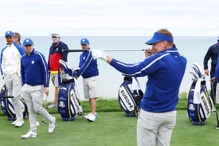 Lightning rod: Europe's Ian Poulter takes aim during a practice round prior to the 43rd Ryder Cup at Whistling Straits (AFP/Warren Little)