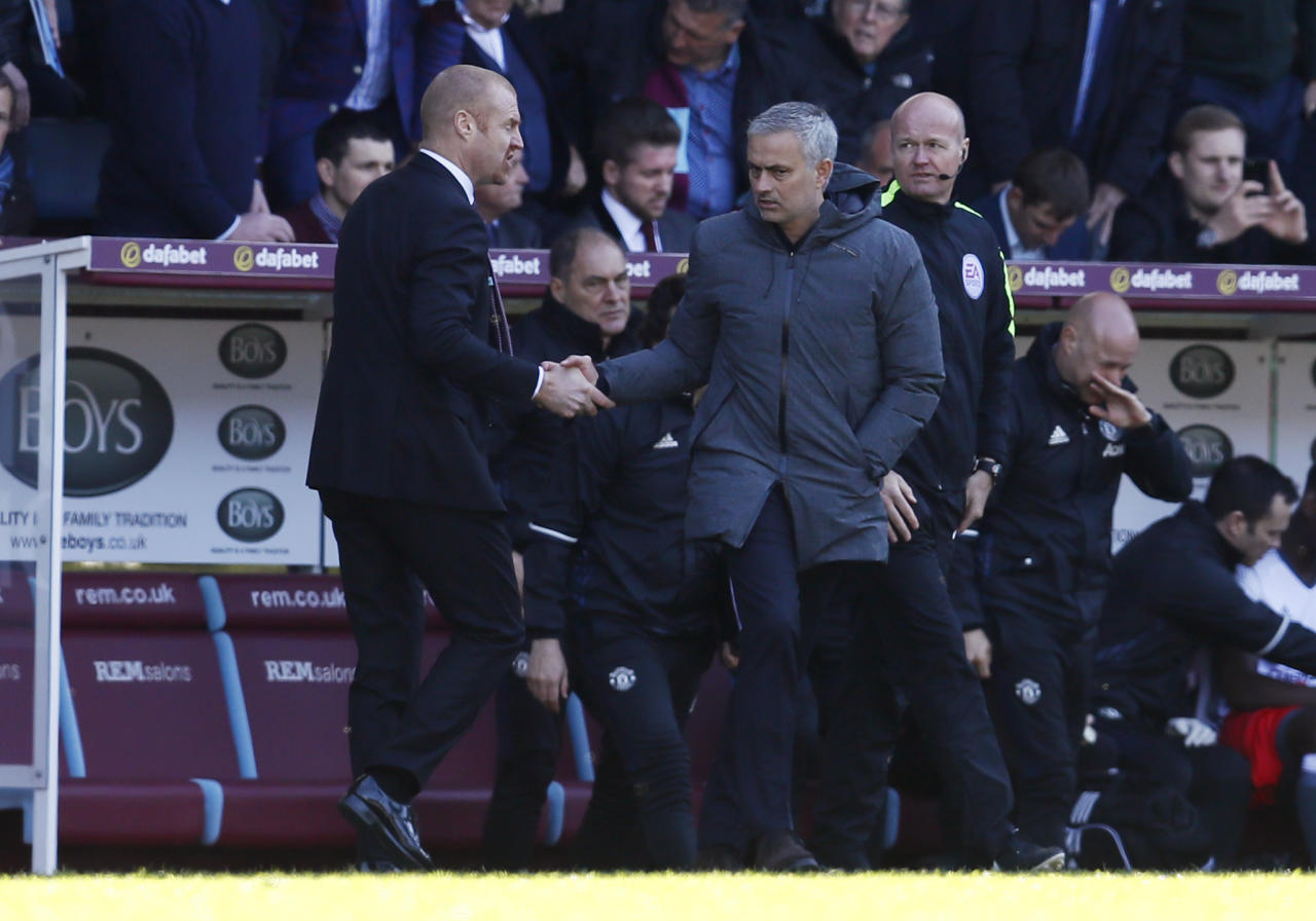 "Britain Football Soccer - Burnley v Manchester United - Premier League - Turf Moor - 23/4/17 Manchester United manager Jose Mourinho shakes hands with Burnley manager Sean Dyche after the game Action Images via Reuters / Jason Cairnduff Livepic EDITORIAL USE ONLY. No use with unauthorized audio, video, data, fixture lists, club/league logos or ""live"" services. Online in-match use limited to 45 images, no video emulation. No use in betting, games or single club/league/player publications.  Please contact your account representative for further details."